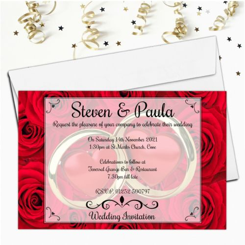 10 Personalised Red Roses Wedding Invitations Day / Evening N51